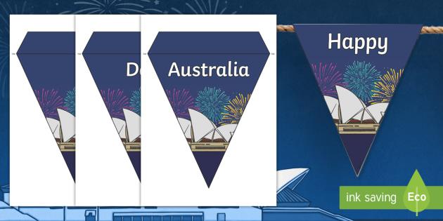 Happy Australia Day Bunting - australia, day, bunting, happy