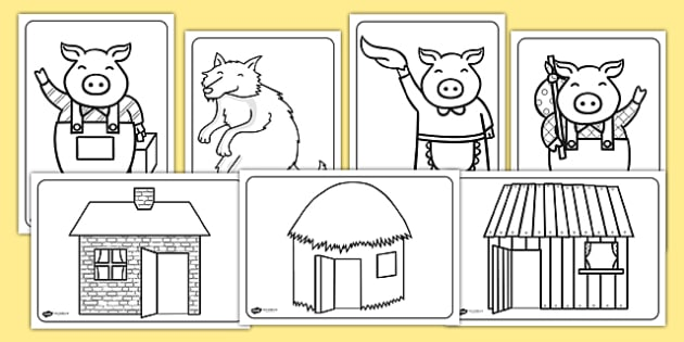 The three little pigs colouring sheets the three little pigs for The three little pigs puppet templates