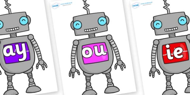 Phase 5 Phonemes on Robots - Phonemes, phoneme, Phase 5, Phase five, Foundation, Literacy, Letters and Sounds, DfES, display