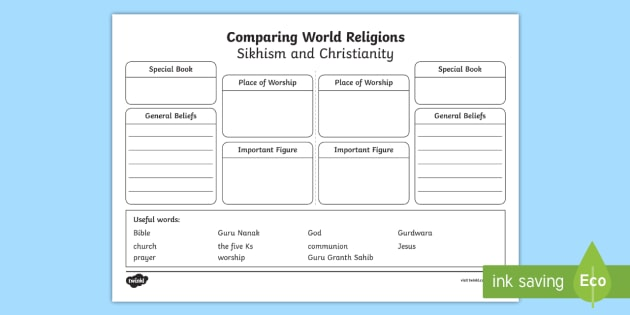 compare sikhism and christianity worksheet activity sheet ks1 world. Black Bedroom Furniture Sets. Home Design Ideas