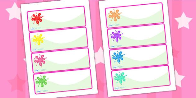 Splat Drawer Peg Name Labels - name labels, labels, peg labels