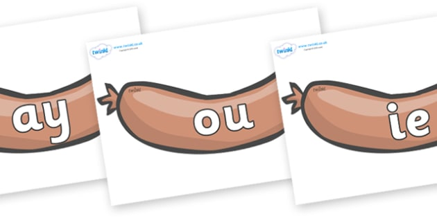 Phase 5 Phonemes on Sausages to Support Teaching on The Very Hungry Caterpillar - Phonemes, phoneme, Phase 5, Phase five, Foundation, Literacy, Letters and Sounds, DfES, display