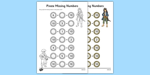 Missing Numbers to 10 Activity Sheet, worksheet