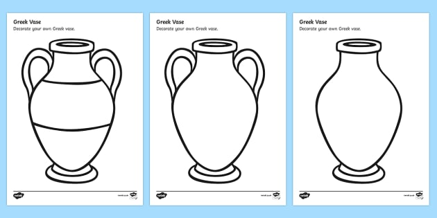 T2 H 059 Greek Vase Template on Blank Worksheets For Kindergarten T