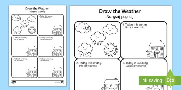 draw the weather worksheet activity sheet english polish. Black Bedroom Furniture Sets. Home Design Ideas