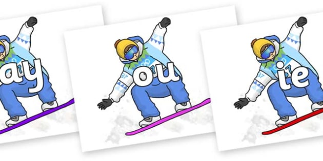 Phase 5 Phonemes on Snowboarding - Phonemes, phoneme, Phase 5, Phase five, Foundation, Literacy, Letters and Sounds, DfES, display