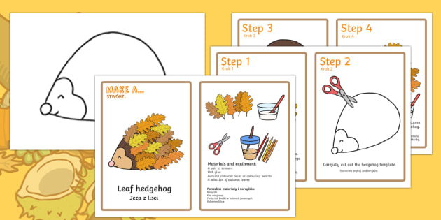 Leaf Hedgehog Craft Instructions English/Polish