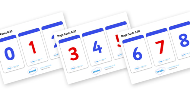 Number Digit Cards (Odds and Evens) 0-30 - Numeracy, digit card, math, number recognition, counting