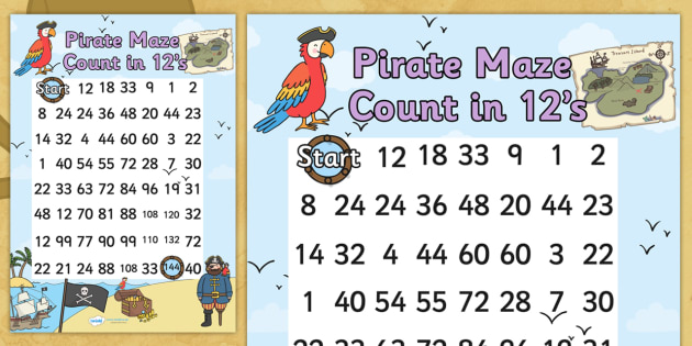 Pirate Themed Counting in 12s Maze Worksheet - pirates, count