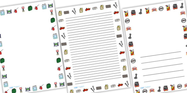 Car Garage Full Page Borders (Portrait) - page borders, car garage page borders, car garage borders for page, landscape, A4, border for page, lined pages