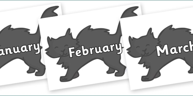 Months of the Year on Black Cats - Months of the Year, Months poster, Months display, display, poster, frieze, Months, month, January, February, March, April, May, June, July, August, September