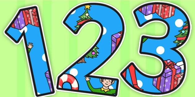 Elf Themed A4 Display Numbers - elf, display numbers, display, a4