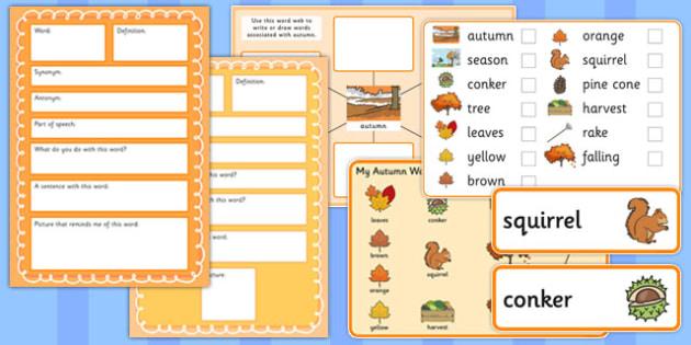 Autumn Pre-Teaching Vocabulary Pack - autumn, pre-teaching, vocabulary pack