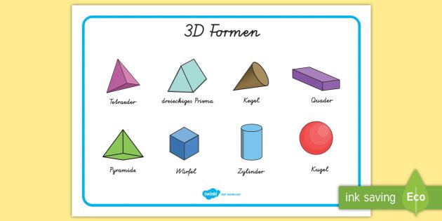 3D Formen Wortschatzsammlung: Querformat - 3D Formen
