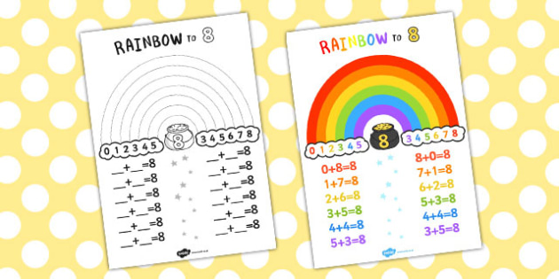 Rainbow to 8 Display Poster - displays, posters, visual aids