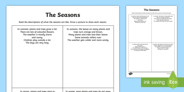 the seasons comprehension worksheet activity sheet seasons. Black Bedroom Furniture Sets. Home Design Ideas
