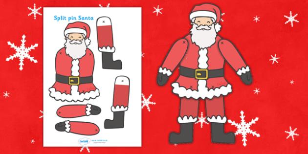 split pin santa santa father christmas split pin activity