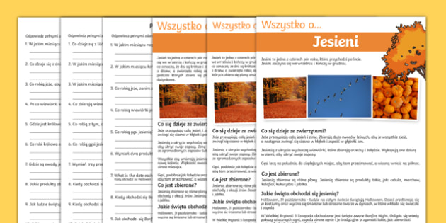 Autumn Comprehension Differentiated Activity sheets Polish-Polish, worksheet