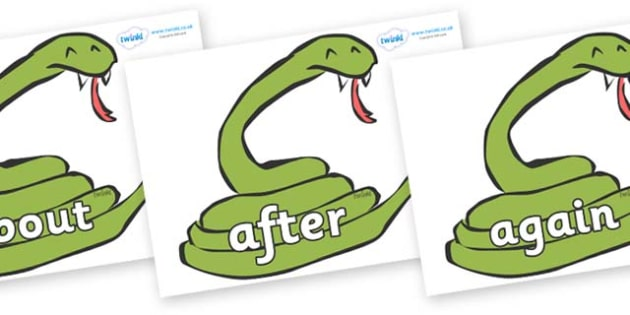 KS1 Keywords on Snakes - KS1, CLL, Communication language and literacy, Display, Key words, high frequency words, foundation stage literacy, DfES Letters and Sounds, Letters and Sounds, spelling
