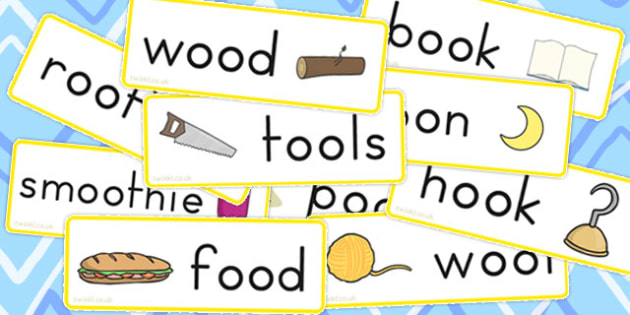 Long Short Oos Word Cards Stick and Ball - oos, sound, word cards