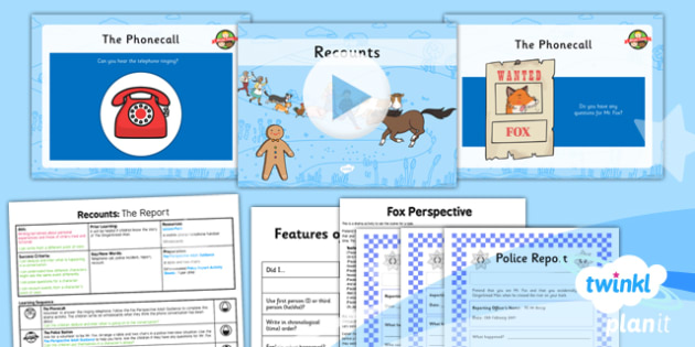 Traditional Tales: The Gingerbread Man: Recounts 1 Y2 Lesson Pack  - traditional stories, talk for writing, police report, statement, retelling, oral
