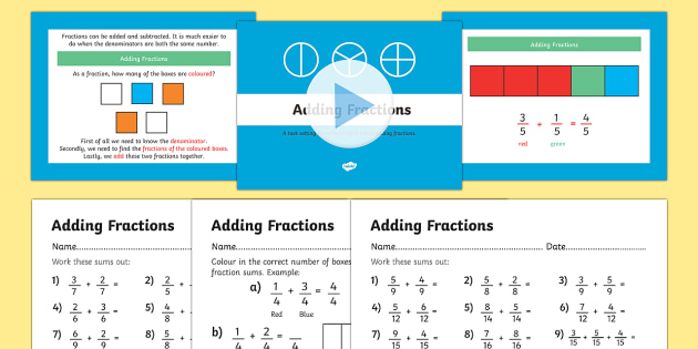Year 3 Adding Fractions PowerPoint and Worksheets - year 3, year