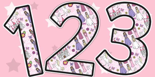 Princess Themed Display Numbers - display, numbers, princess
