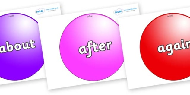 KS1 Keywords on Spheres - KS1, CLL, Communication language and literacy, Display, Key words, high frequency words, foundation stage literacy, DfES Letters and Sounds, Letters and Sounds, spelling