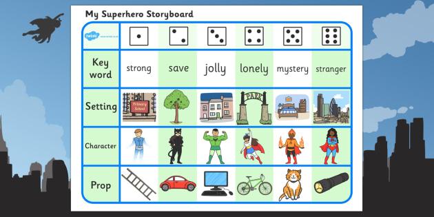 Superhero Storyboard Writing Activity - superhero, storyboard, story board, writing, activity