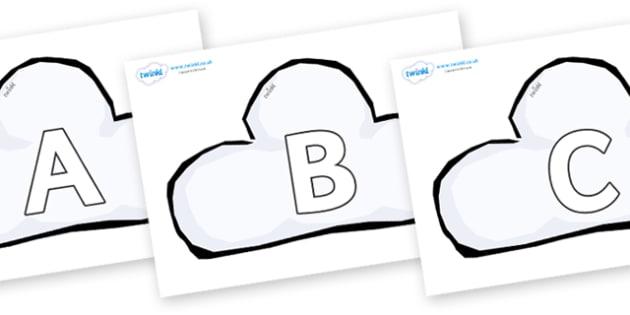 A-Z Alphabet on Weather Symbols (Cloud) - A-Z, A4, display, Alphabet frieze, Display letters, Letter posters, A-Z letters, Alphabet flashcards