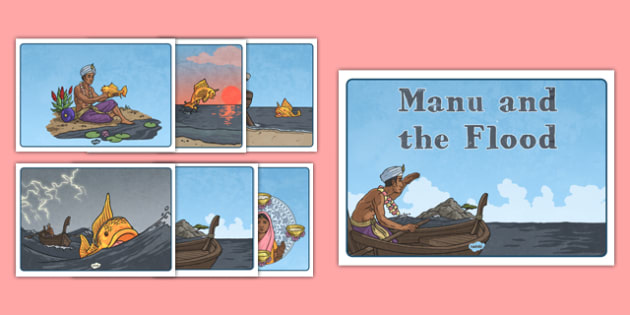 Manu and the Flood Story Sequencing - manu, flood, story, sikh, sikhism, tradition, sequence