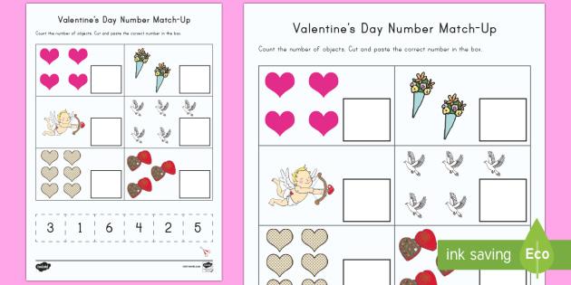 valentine 39 s day number match up worksheet worksheet valentine 39 s day usa. Black Bedroom Furniture Sets. Home Design Ideas
