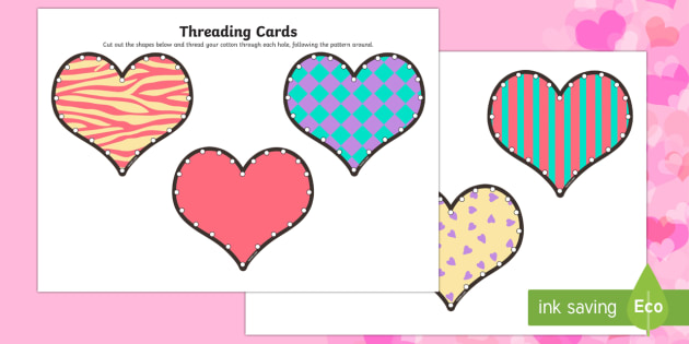 Valentine's Day Heart Threading Cards - Valentine's Day,  Feb 14th, love, cupid, hearts, valentine, 14th Feb