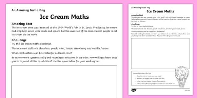 Ice Cream Maths Activity Sheet, worksheet
