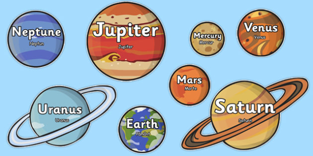 The Planet Names Words on Planets Romanian Translation - romanian, planet, space, space display