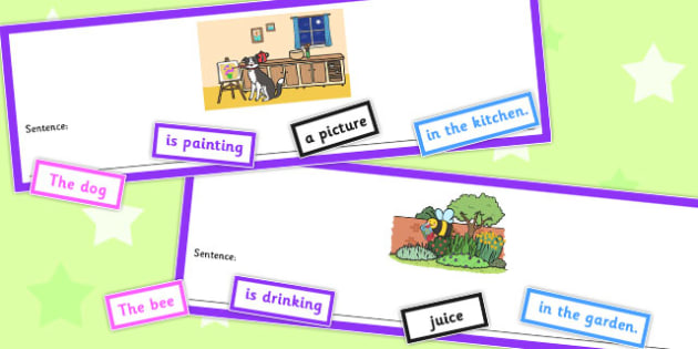 Who What Doing To What Where Unusual Sentence Cut Up Cards - card