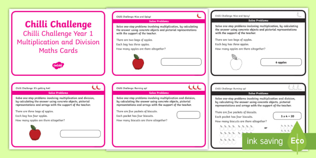 chilli challenge year 1 multiplication maths cards challenge cards times. Black Bedroom Furniture Sets. Home Design Ideas