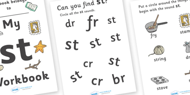 My 'st' Letter Blend Workbook - workbook, st, letters, blend, alphabet, activity, handwriting, blends, letter, letter blends
