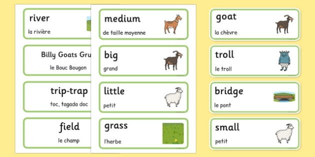 The Three Billy Goats Gruff Word Cards French Translation - french, Three Billy Goats Gruff, traditional tales, word cards, tale, fairy tale, goat, billy goat, troll, sweet grass, bridge, flashcards