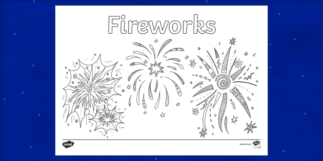 Fireworks! Colouring Page