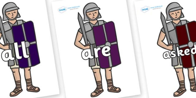 Tricky Words on Roman Soldiers - Tricky words, DfES Letters and Sounds, Letters and sounds, display, words