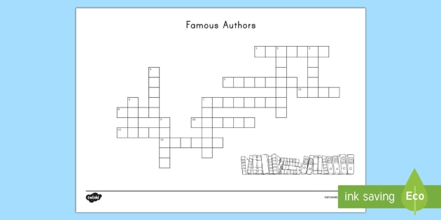 Famous Authors Crossword - World Book Day, Authors, Young -6426