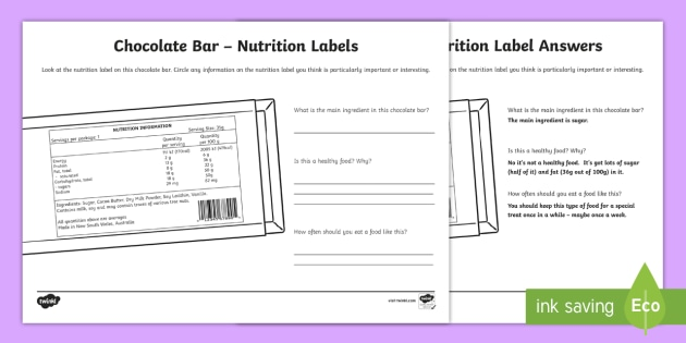 Chocolate Bar Nutrition Label Worksheet Activity Sheet – Food Label Worksheet