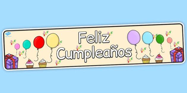 Spanish Happy Birthday Display Banner Spanish Display Banner