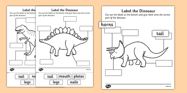 label the dinosaur worksheet primary resources. Black Bedroom Furniture Sets. Home Design Ideas