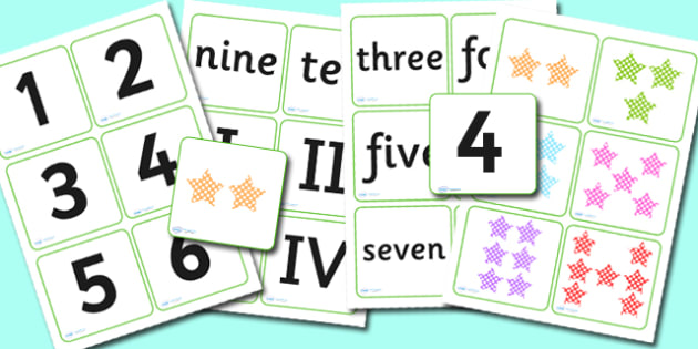 Roman Numerals Matching Cards - roman, roman numerals, matching