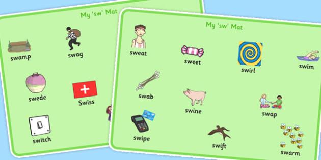 SW Word Mats - sw sound, word mats, word, mats, sound, syllables