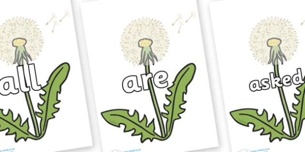 Tricky Words on Dandelion Seeds - Tricky words, DfES Letters and Sounds, Letters and sounds, display, words