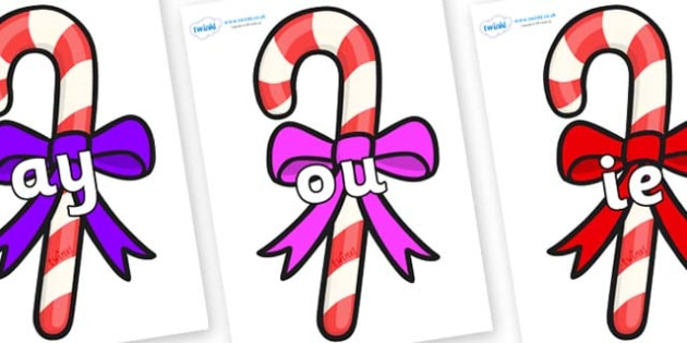 Phase 5 Phonemes on Candy Canes (Bows) - Phonemes, phoneme, Phase 5, Phase five, Foundation, Literacy, Letters and Sounds, DfES, display