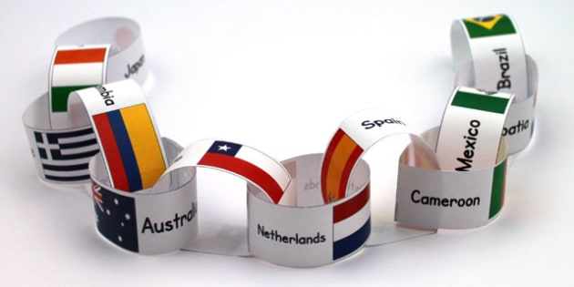 World Cup Country Name and Flags Paperchain - football, sports